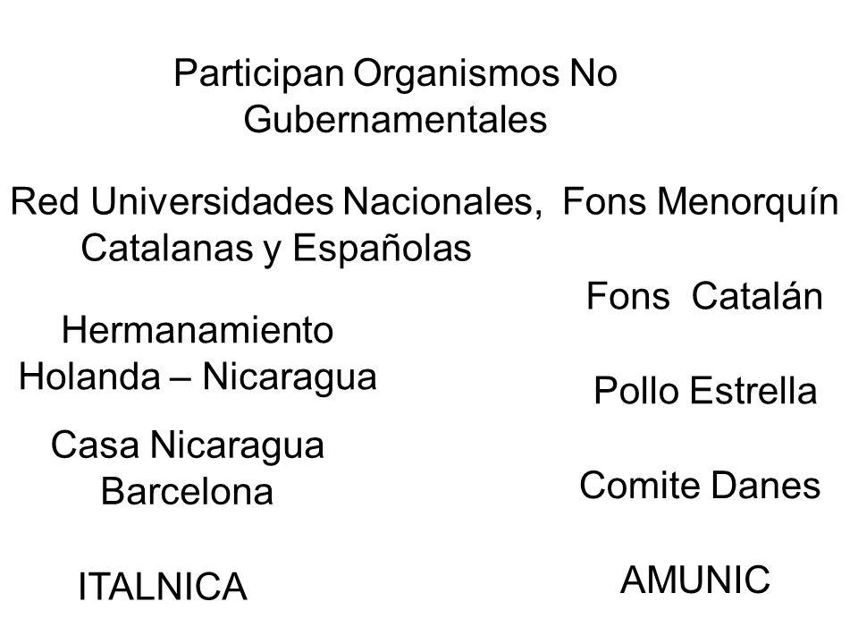 Participan Organismos No Gubernamentales Red Universidades Nacionales, Catalanas y Españolas Fons Catalán AMUNIC Pollo Estrella Hermanamiento Holanda