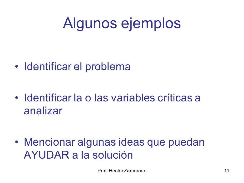 Prof. Héctor Zamorano11 Algunos ejemplos Identificar el problema Identificar la o las variables críticas a analizar Mencionar algunas ideas que puedan