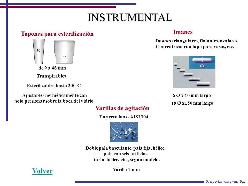 Grupo Eurosigma, S.L. Tapones para esterilización de 9 a 48 mm Esterilizables hasta 200ºC Transpirables Ajustables herméticamente con solo presionar s