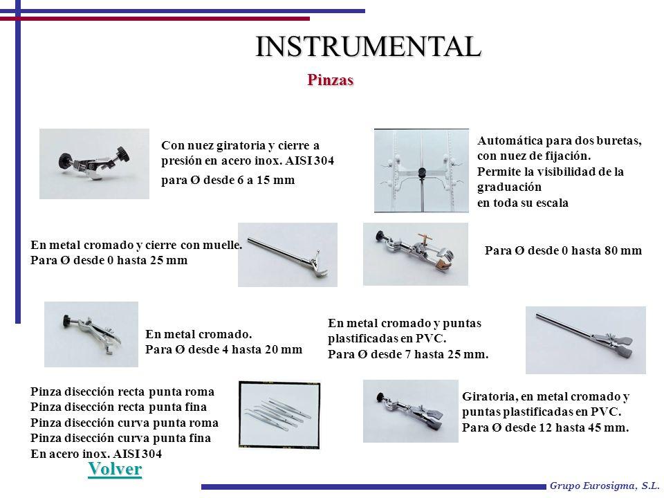 Grupo Eurosigma, S.L. INSTRUMENTAL Pinzas Con nuez giratoria y cierre a presión en acero inox. AISI 304 para Ø desde 6 a 15 mm Automática para dos bur
