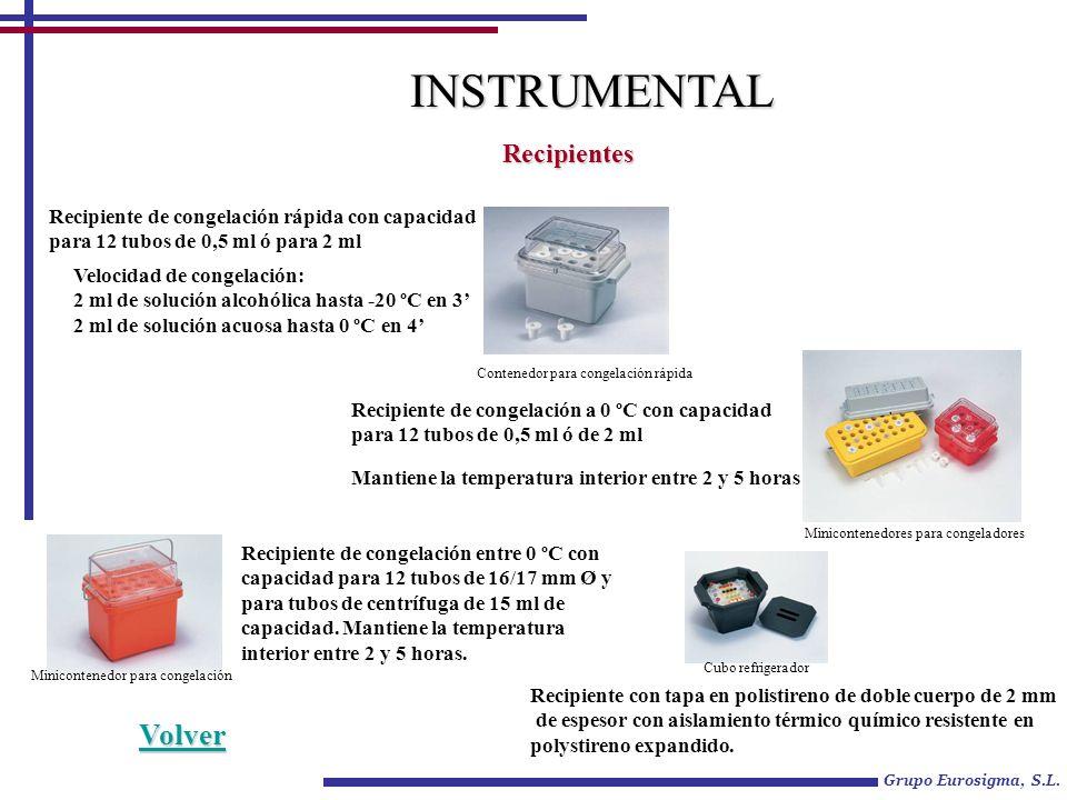 Grupo Eurosigma, S.L. INSTRUMENTAL Recipientes Recipiente de congelación rápida con capacidad para 12 tubos de 0,5 ml ó para 2 ml Velocidad de congela