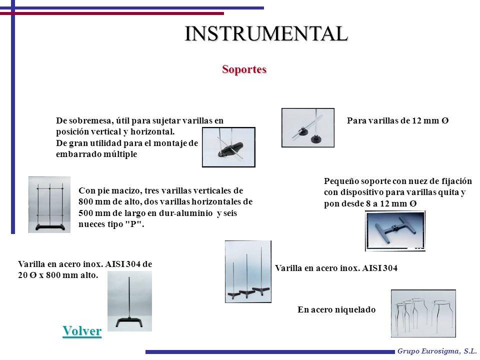 Grupo Eurosigma, S.L. INSTRUMENTAL Soportes De sobremesa, útil para sujetar varillas en posición vertical y horizontal. De gran utilidad para el monta