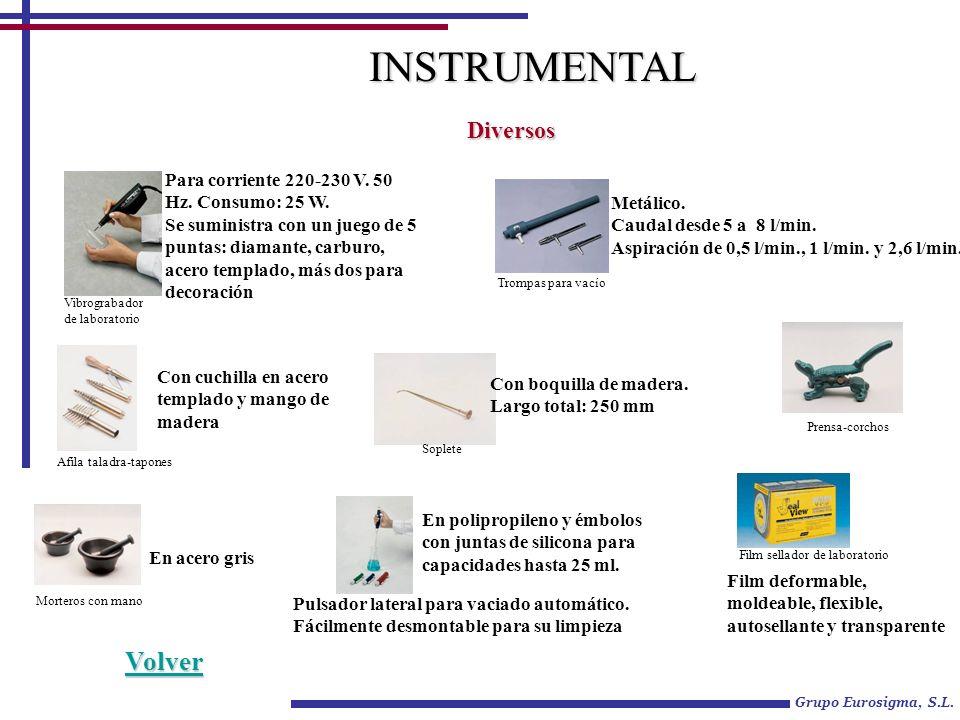 Grupo Eurosigma, S.L. INSTRUMENTAL Diversos Para corriente 220-230 V. 50 Hz. Consumo: 25 W. Se suministra con un juego de 5 puntas: diamante, carburo,