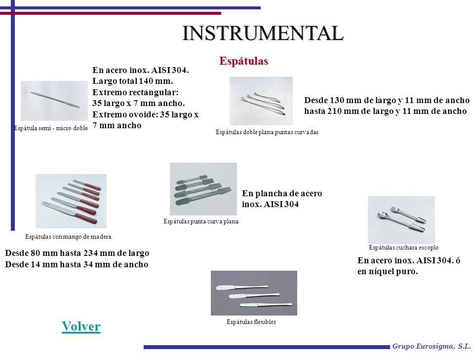 Grupo Eurosigma, S.L. INSTRUMENTAL Espátulas En acero inox. AISI 304. Largo total 140 mm. Extremo rectangular: 35 largo x 7 mm ancho. Extremo ovoide: