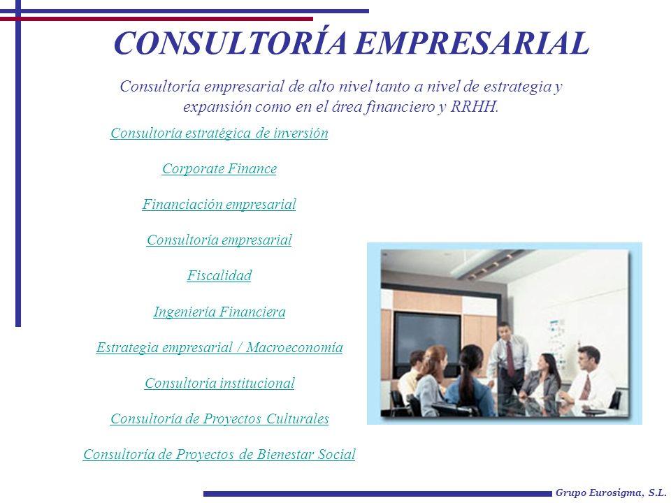 CONSULTORÍA EMPRESARIAL Grupo Eurosigma, S.L. Consultoría estratégica de inversión Corporate Finance Financiación empresarial Consultoría empresarial