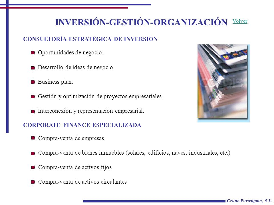 INVERSIÓN-GESTIÓN-ORGANIZACIÓN Oportunidades de negocio. Desarrollo de ideas de negocio. Business plan. Gestión y optimización de proyectos empresaria
