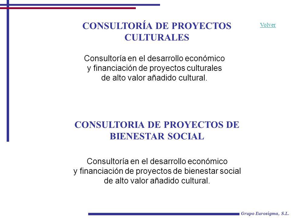 CONSULTORÍA DE PROYECTOS CULTURALES Grupo Eurosigma, S.L. CONSULTORIA DE PROYECTOS DE BIENESTAR SOCIAL Volver Consultoría en el desarrollo económico y