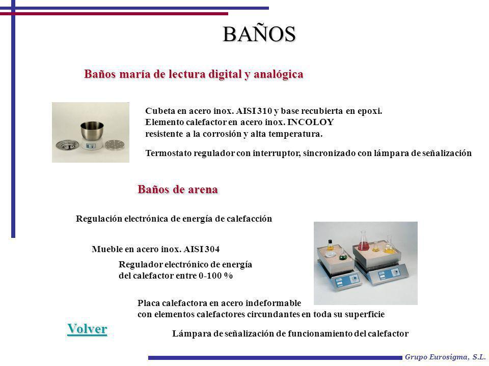 Grupo Eurosigma, S.L.Baños maría de lectura digital y analógica Cubeta en acero inox.