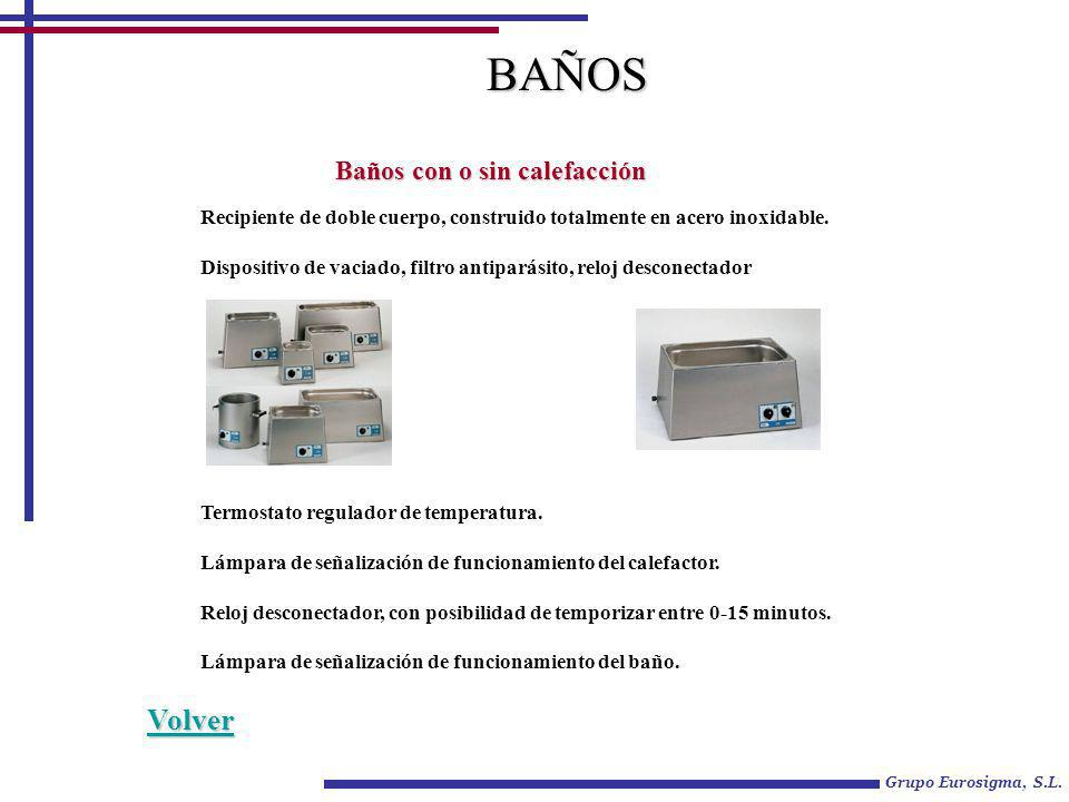 Grupo Eurosigma, S.L. BAÑOS Baños con o sin calefacción Termostato regulador de temperatura. Lámpara de señalización de funcionamiento del calefactor.