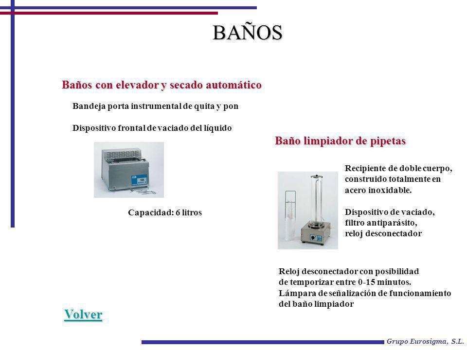 Grupo Eurosigma, S.L. BAÑOS Baños con elevador y secado automático Bandeja porta instrumental de quita y pon Dispositivo frontal de vaciado del líquid
