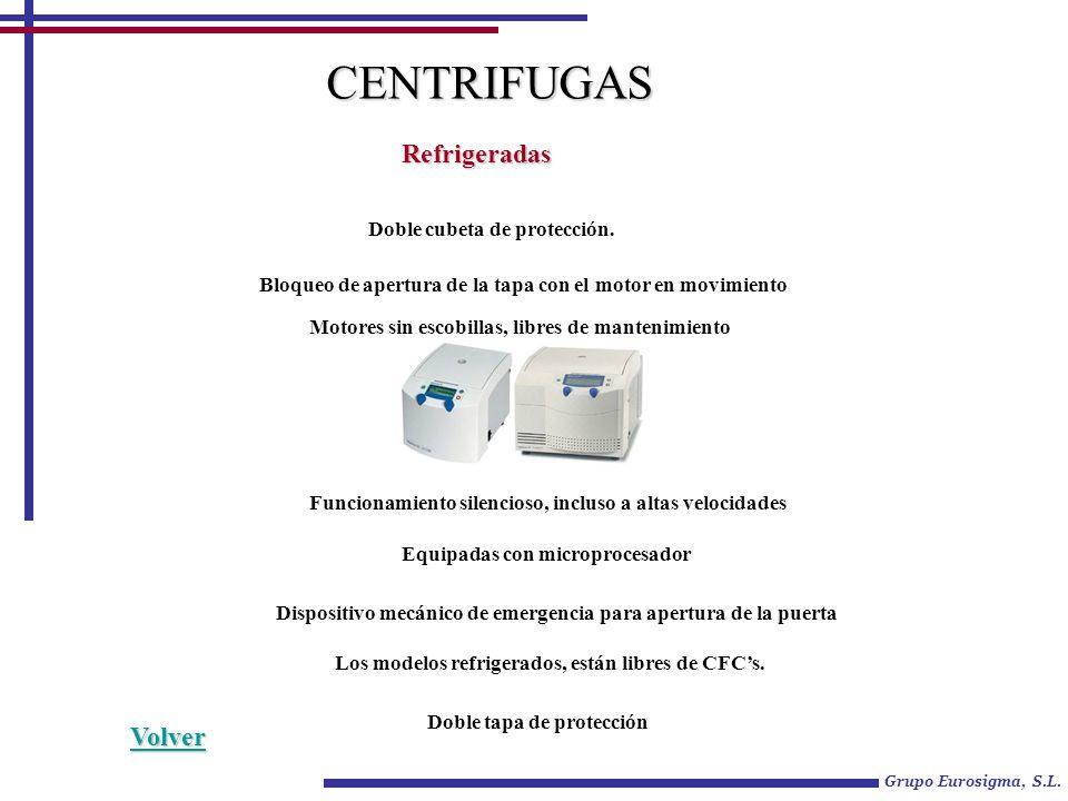 Grupo Eurosigma, S.L. CENTRIFUGAS Refrigeradas Doble cubeta de protección.