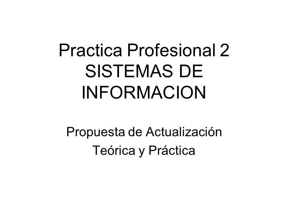 Practica Profesional 2 SISTEMAS DE INFORMACION Propuesta de Actualización Teórica y Práctica