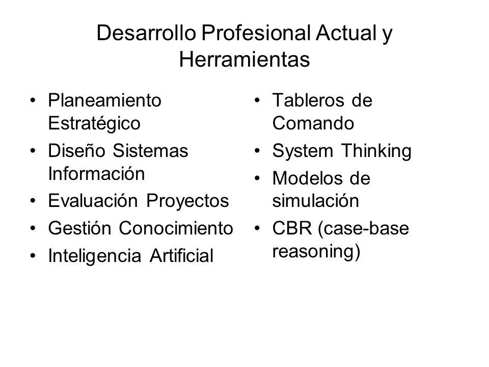 Desarrollo Profesional Actual y Herramientas Planeamiento Estratégico Diseño Sistemas Información Evaluación Proyectos Gestión Conocimiento Inteligenc