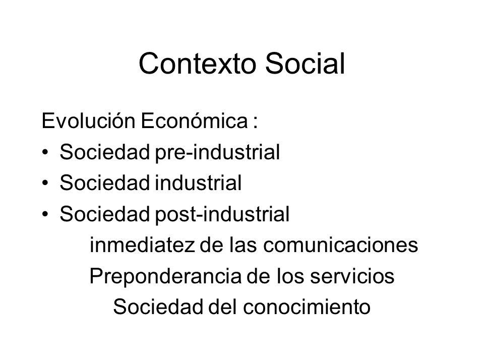 Contexto Social Evolución Económica : Sociedad pre-industrial Sociedad industrial Sociedad post-industrial inmediatez de las comunicaciones Prepondera