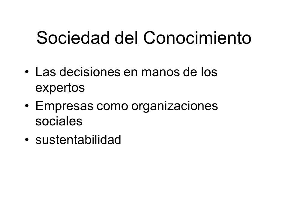 Sociedad del Conocimiento Las decisiones en manos de los expertos Empresas como organizaciones sociales sustentabilidad