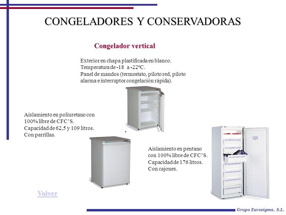 Grupo Eurosigma, S.L. Congelador vertical Exterior en chapa plastificada en blanco. Temperatura de -18 a -22ºC. Panel de mandos (termostato, piloto re