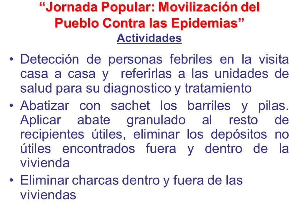Jornada Popular: Movilización del Pueblo Contra las Epidemias Jornada Popular: Movilización del Pueblo Contra las Epidemias Actividades Detección de p