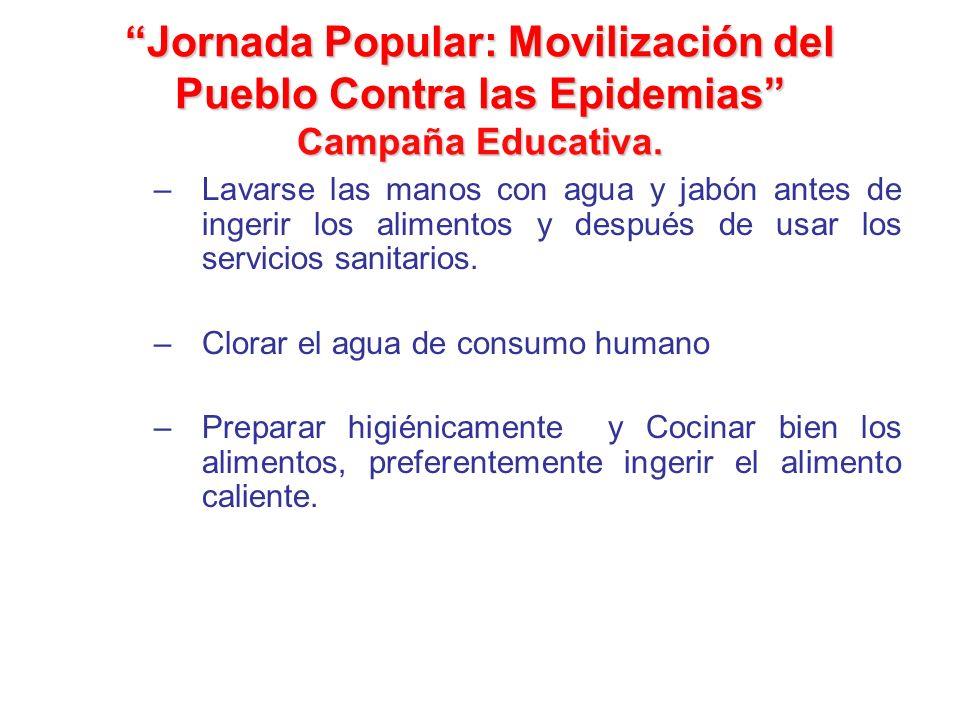 Jornada Popular: Movilización del Pueblo Contra las Epidemias Campaña Educativa. –Lavarse las manos con agua y jabón antes de ingerir los alimentos y