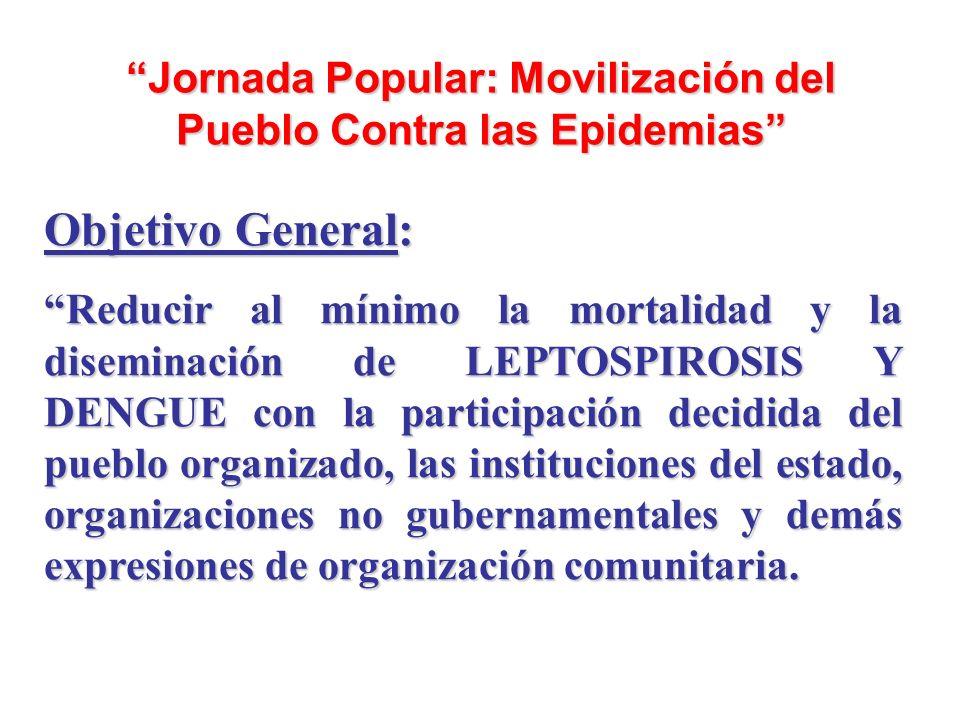 Jornada Popular: Movilización del Pueblo Contra las Epidemias Objetivo General: Reducir al mínimo la mortalidad y la diseminación de LEPTOSPIROSIS Y D