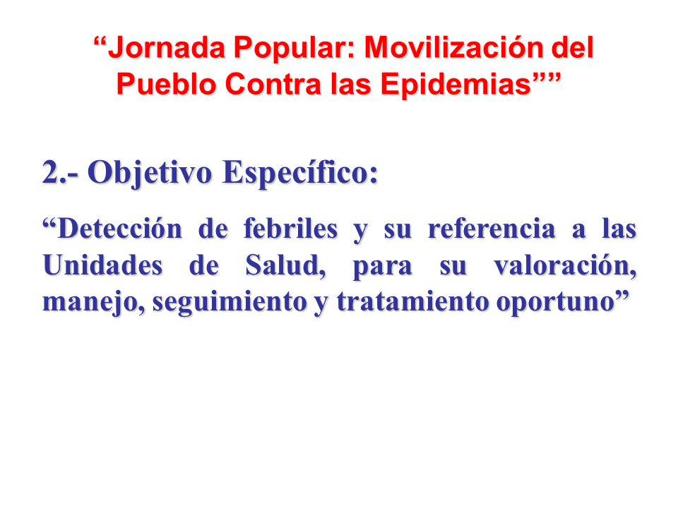 Jornada Popular: Movilización del Pueblo Contra las Epidemias Jornada Popular: Movilización del Pueblo Contra las Epidemias 2.- Objetivo Específico: D