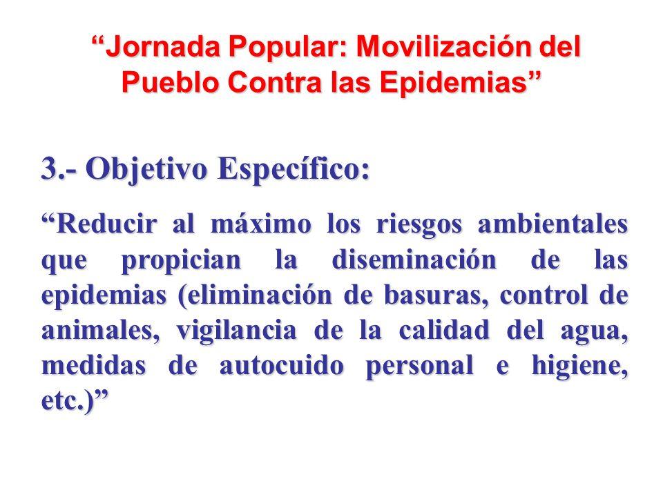 Jornada Popular: Movilización del Pueblo Contra las Epidemias Jornada Popular: Movilización del Pueblo Contra las Epidemias 3.- Objetivo Específico: R