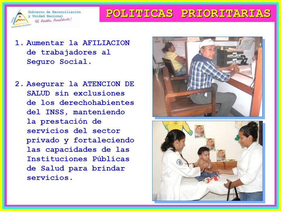POLITICAS PRIORITARIAS 1.Aumentar la AFILIACION de trabajadores al Seguro Social.