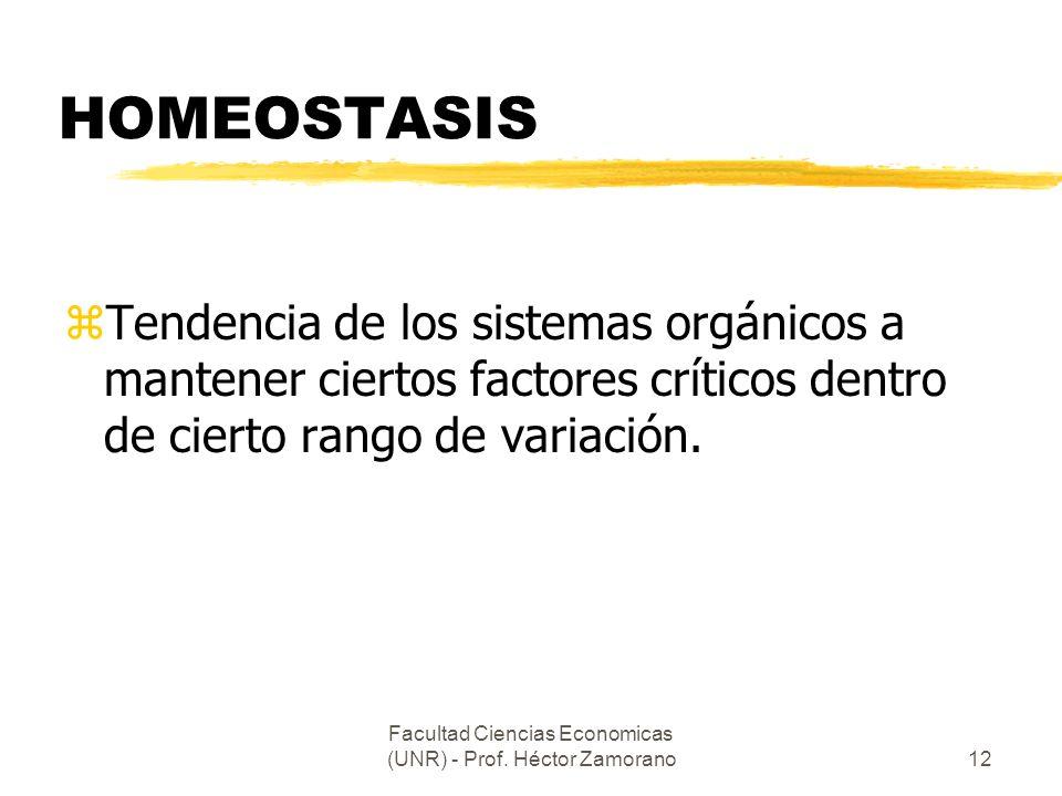 Facultad Ciencias Economicas (UNR) - Prof. Héctor Zamorano12 HOMEOSTASIS zTendencia de los sistemas orgánicos a mantener ciertos factores críticos den