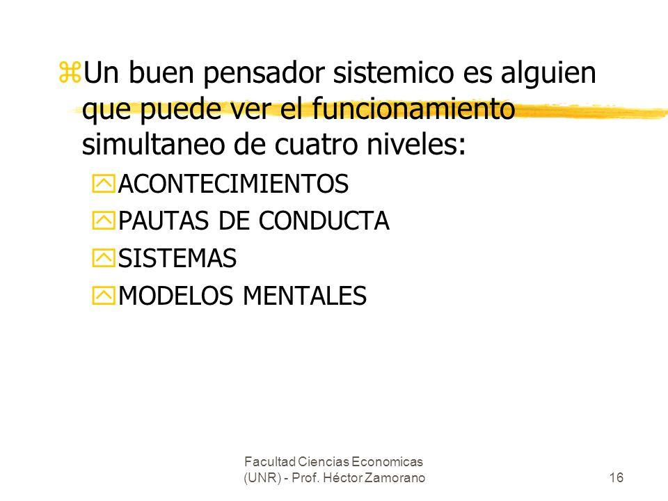 Facultad Ciencias Economicas (UNR) - Prof. Héctor Zamorano16 zUn buen pensador sistemico es alguien que puede ver el funcionamiento simultaneo de cuat