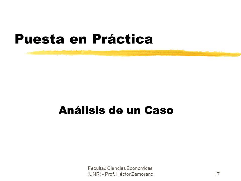 Facultad Ciencias Economicas (UNR) - Prof. Héctor Zamorano17 Puesta en Práctica Análisis de un Caso