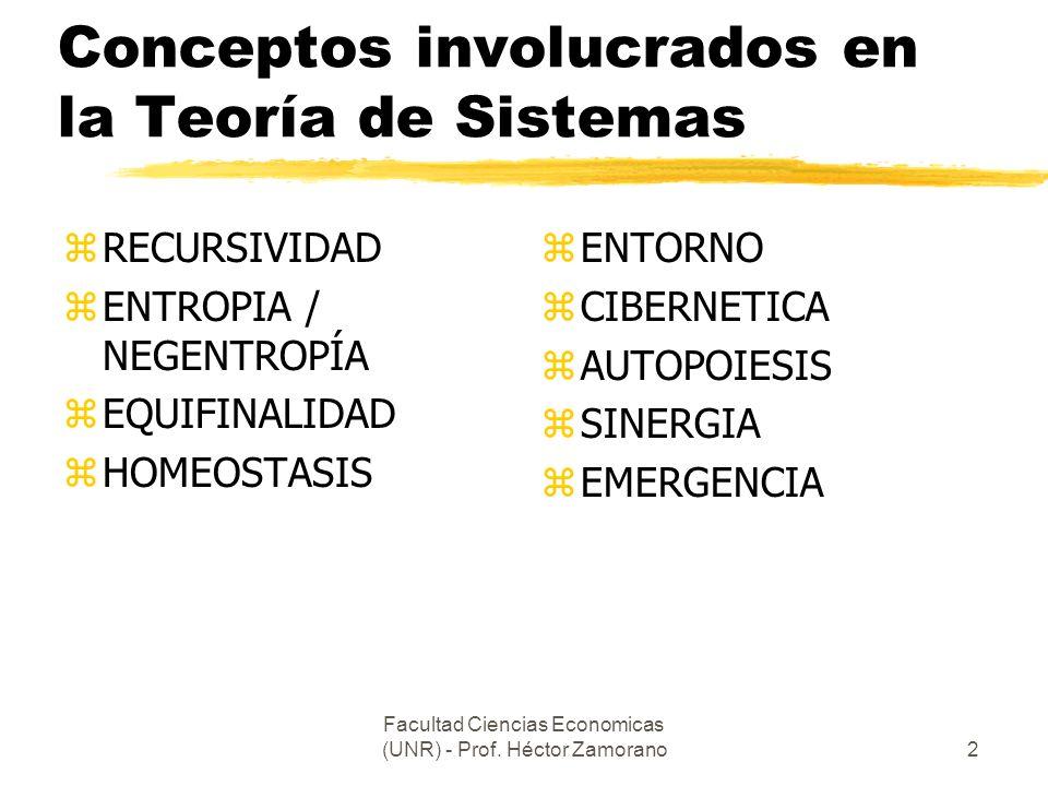 Facultad Ciencias Economicas (UNR) - Prof. Héctor Zamorano2 Conceptos involucrados en la Teoría de Sistemas zRECURSIVIDAD zENTROPIA / NEGENTROPÍA zEQU