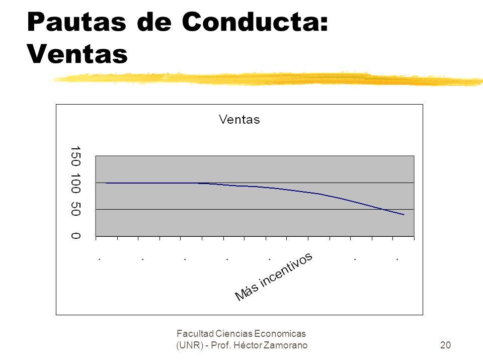 Facultad Ciencias Economicas (UNR) - Prof. Héctor Zamorano20 Pautas de Conducta: Ventas