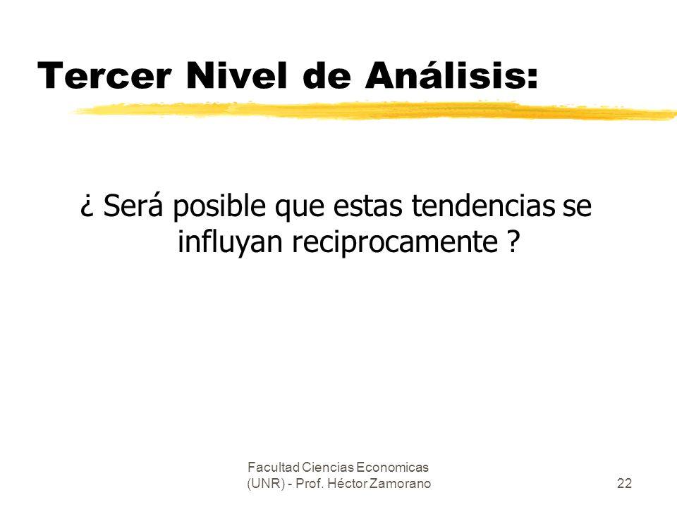 Facultad Ciencias Economicas (UNR) - Prof. Héctor Zamorano22 Tercer Nivel de Análisis: ¿ Será posible que estas tendencias se influyan reciprocamente