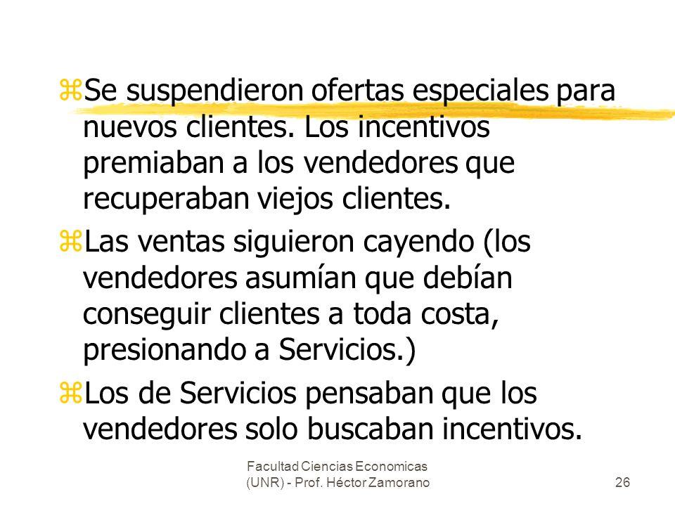 Facultad Ciencias Economicas (UNR) - Prof. Héctor Zamorano26 zSe suspendieron ofertas especiales para nuevos clientes. Los incentivos premiaban a los