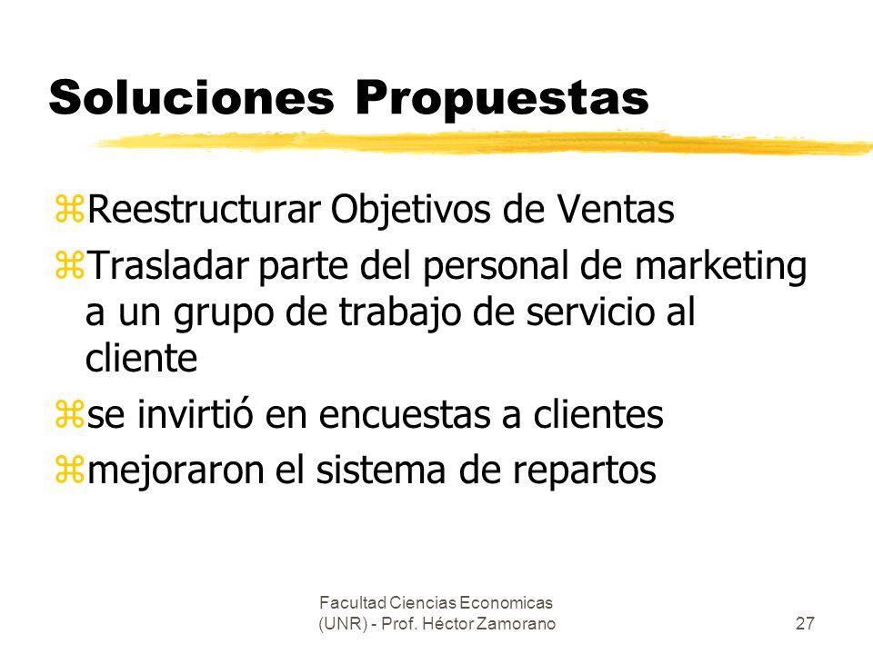 Facultad Ciencias Economicas (UNR) - Prof. Héctor Zamorano27 Soluciones Propuestas zReestructurar Objetivos de Ventas zTrasladar parte del personal de