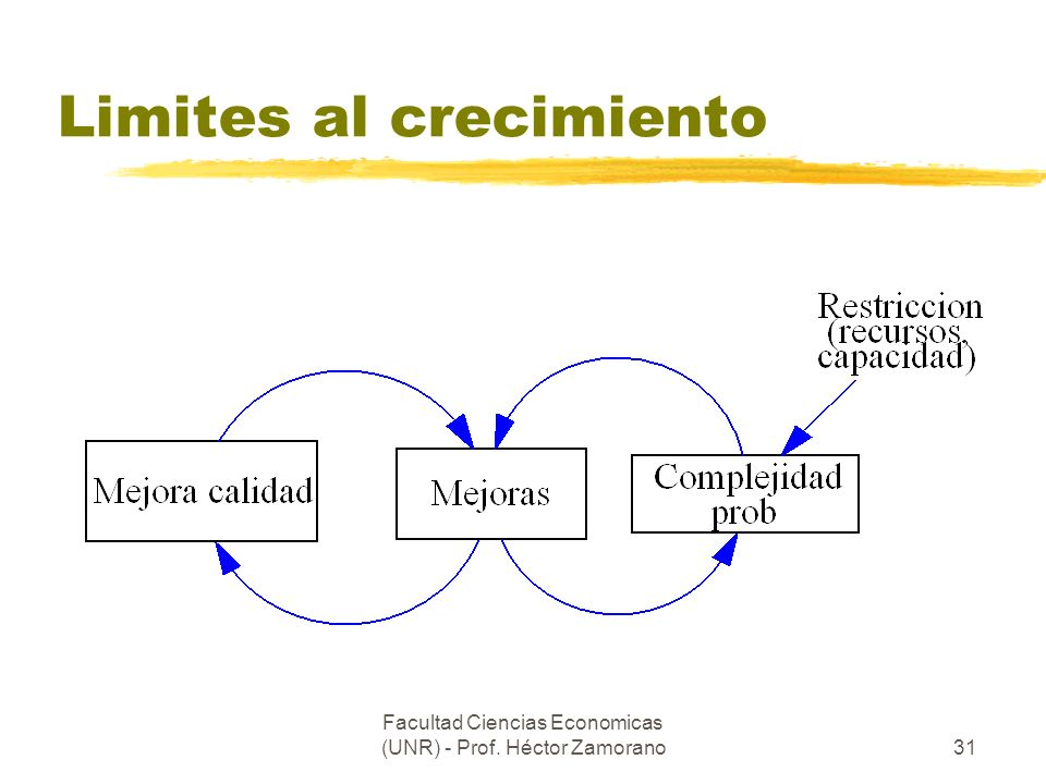 Facultad Ciencias Economicas (UNR) - Prof. Héctor Zamorano31 Limites al crecimiento