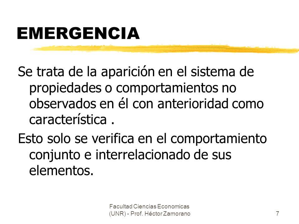 Facultad Ciencias Economicas (UNR) - Prof. Héctor Zamorano7 EMERGENCIA Se trata de la aparición en el sistema de propiedades o comportamientos no obse