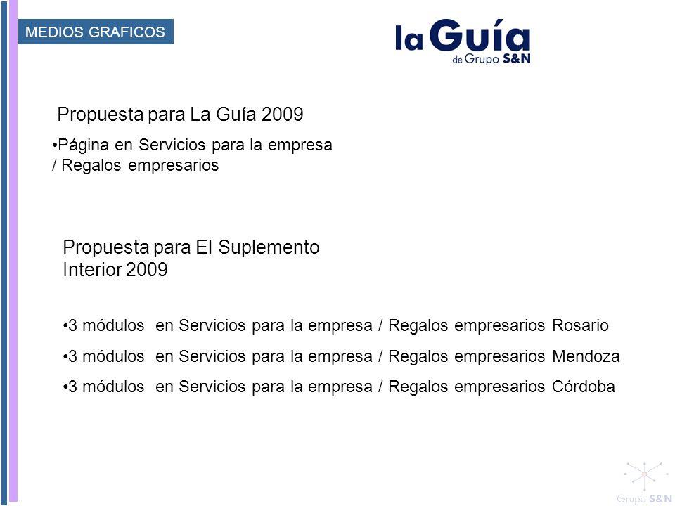 Página en Servicios para la empresa / Regalos empresarios Propuesta para La Guía 2009 Propuesta para El Suplemento Interior 2009 3 módulos en Servicio