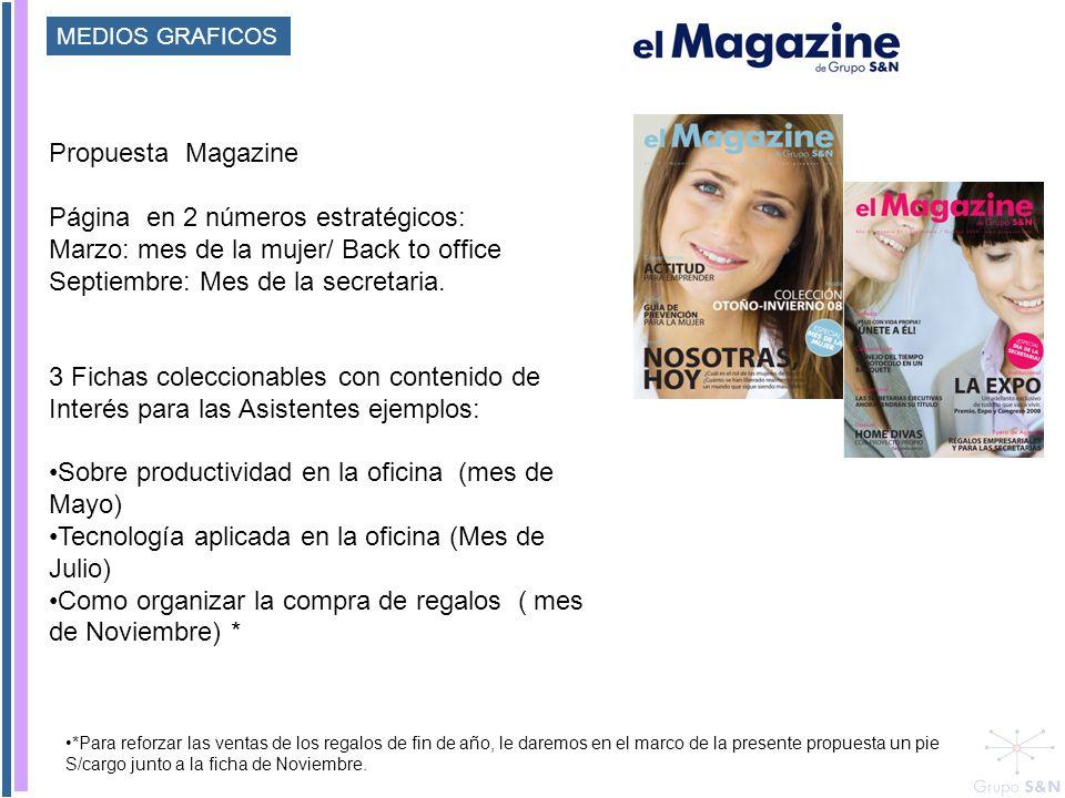 Propuesta Magazine Página en 2 números estratégicos: Marzo: mes de la mujer/ Back to office Septiembre: Mes de la secretaria. 3 Fichas coleccionables