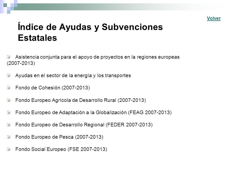 Índice de Ayudas y Subvenciones Estatales Asistencia conjunta para el apoyo de proyectos en la regiones europeas (2007-2013) Ayudas en el sector de la energía y los transportes Fondo de Cohesión (2007-2013) Fondo Europeo Agrícola de Desarrollo Rural (2007-2013) Fondo Europeo de Adaptación a la Globalización (FEAG 2007-2013) Fondo Europeo de Desarrollo Regional (FEDER 2007-2013) Fondo Europeo de Pesca (2007-2013) Fondo Social Europeo (FSE 2007-2013) Volver