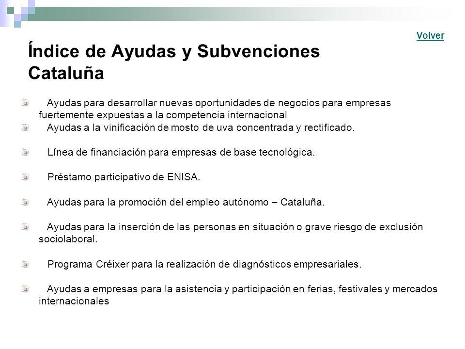 Índice de Ayudas y Subvenciones Cataluña Ayudas para desarrollar nuevas oportunidades de negocios para empresas fuertemente expuestas a la competencia internacional Ayudas a la vinificación de mosto de uva concentrada y rectificado.