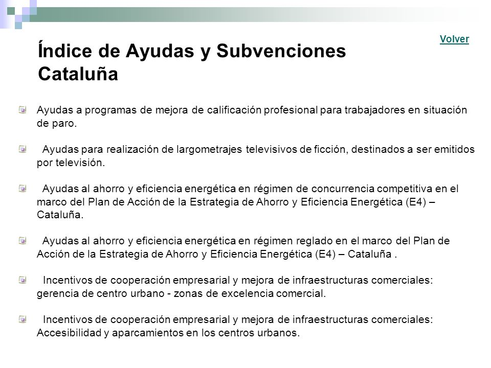 Índice de Ayudas y Subvenciones Estatales.