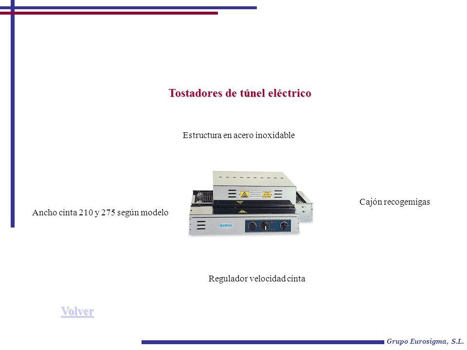 Grupo Eurosigma, S.L. Tostadores de túnel eléctrico Estructura en acero inoxidable Regulador velocidad cinta Cajón recogemigas Ancho cinta 210 y 275 s