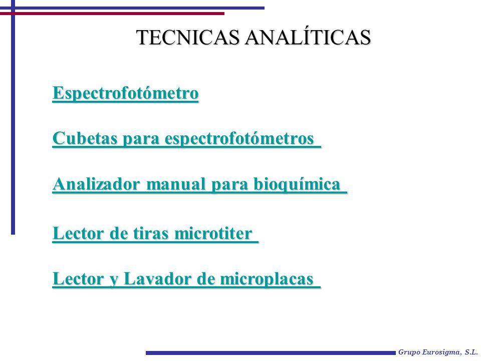 Grupo Eurosigma, S.L. Espectrofotómetro Analizador manual para bioquímica Analizador manual para bioquímica Cubetas para espectrofotómetros Cubetas pa