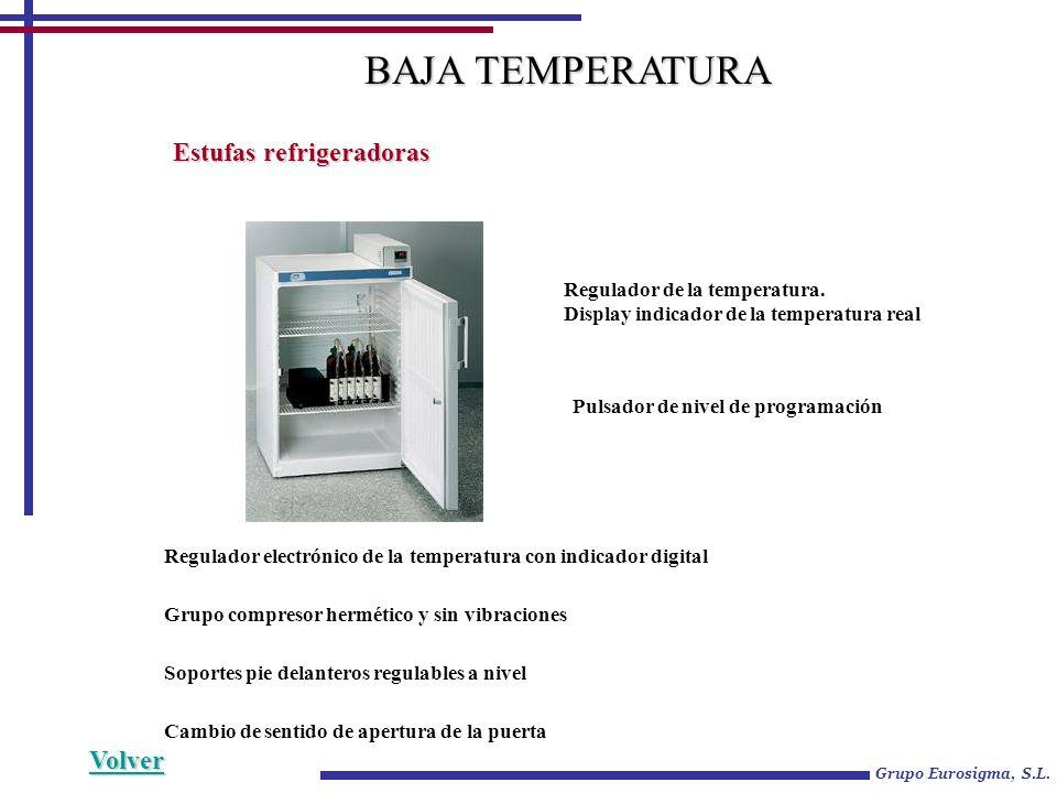 Grupo Eurosigma, S.L. Estufas refrigeradoras Regulador electrónico de la temperatura con indicador digital Grupo compresor hermético y sin vibraciones