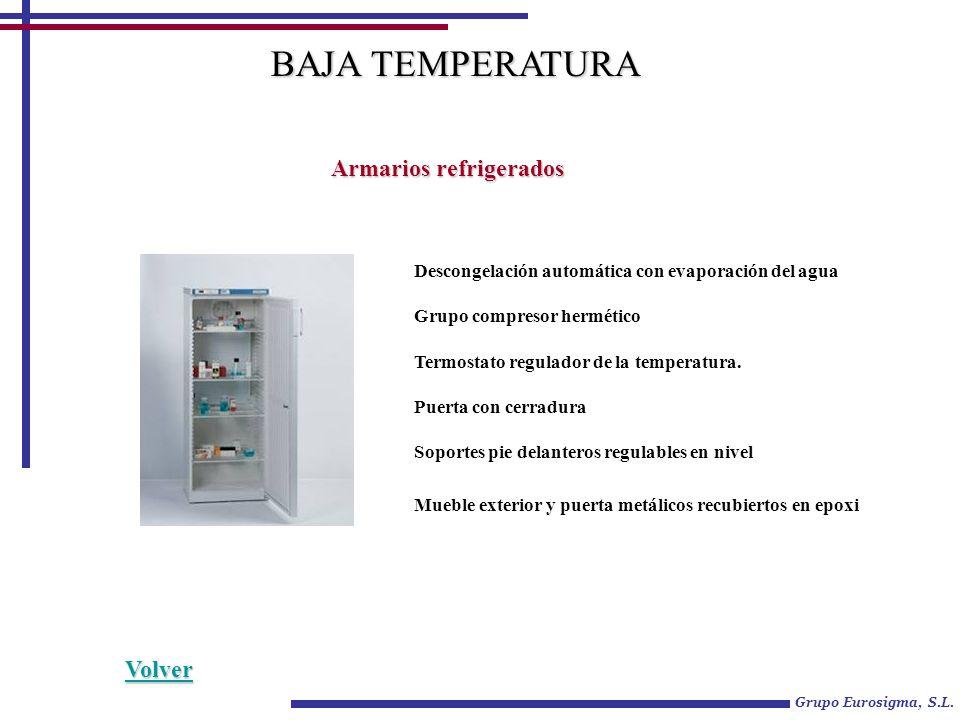 Grupo Eurosigma, S.L. Armarios refrigerados BAJA TEMPERATURA Descongelación automática con evaporación del agua Grupo compresor hermético Termostato r