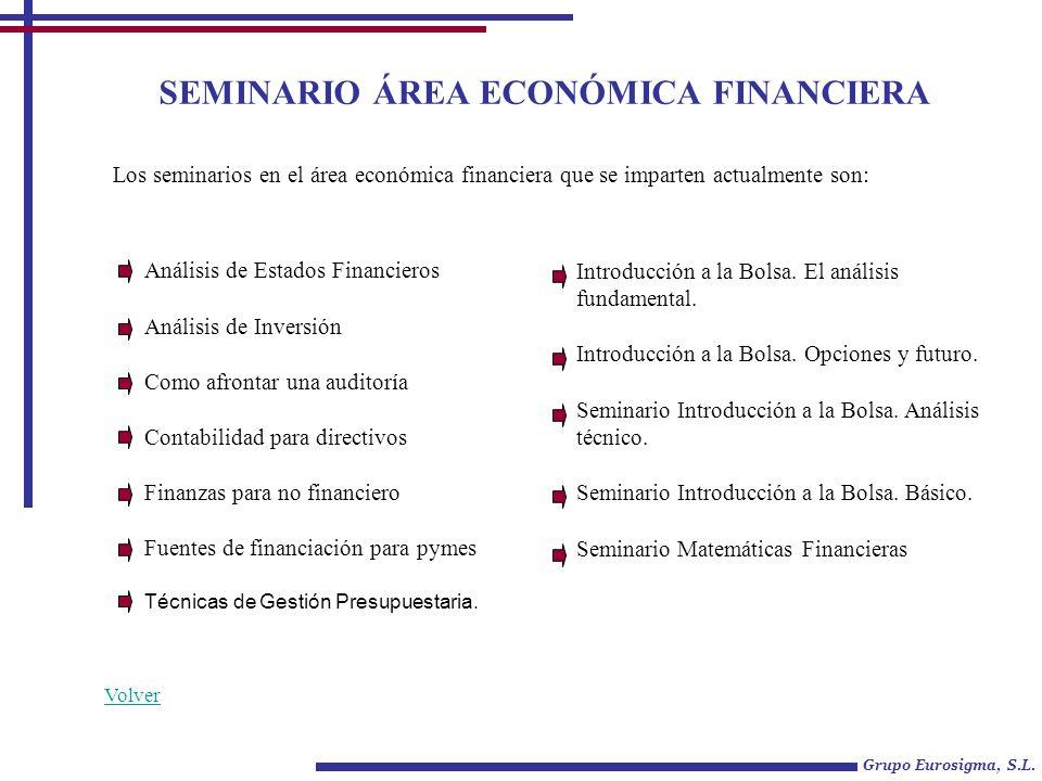 SEMINARIO ÁREA ECONÓMICA FINANCIERA Análisis de Estados Financieros Análisis de Inversión Como afrontar una auditoría Contabilidad para directivos Fin