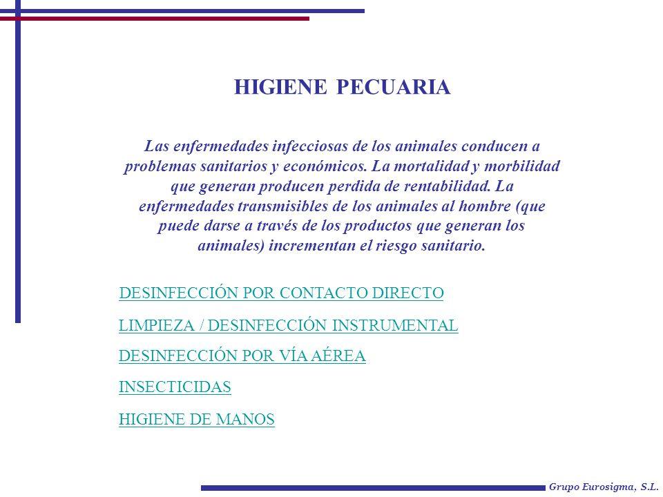 HIGIENE PECUARIA Grupo Eurosigma, S.L. DESINFECCIÓN POR CONTACTO DIRECTO DESINFECCIÓN POR VÍA AÉREA Las enfermedades infecciosas de los animales condu