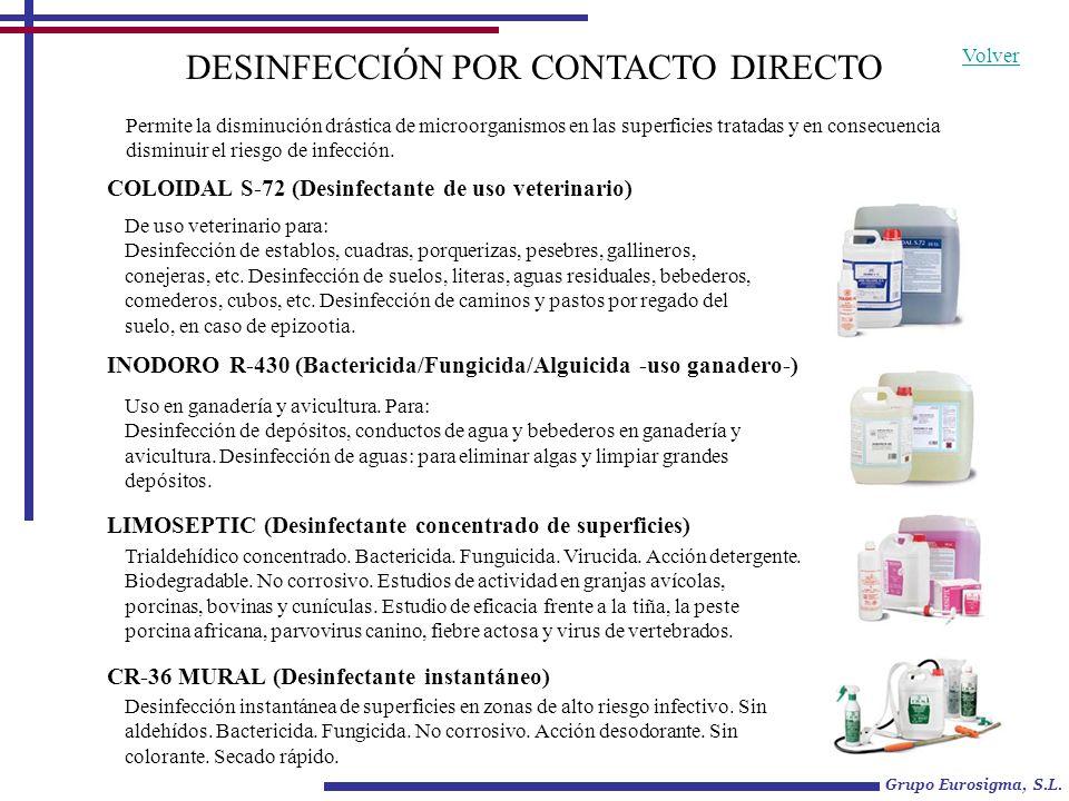 DESINFECCIÓN POR CONTACTO DIRECTO COLOIDAL S-72 (Desinfectante de uso veterinario) De uso veterinario para: Desinfección de establos, cuadras, porquer