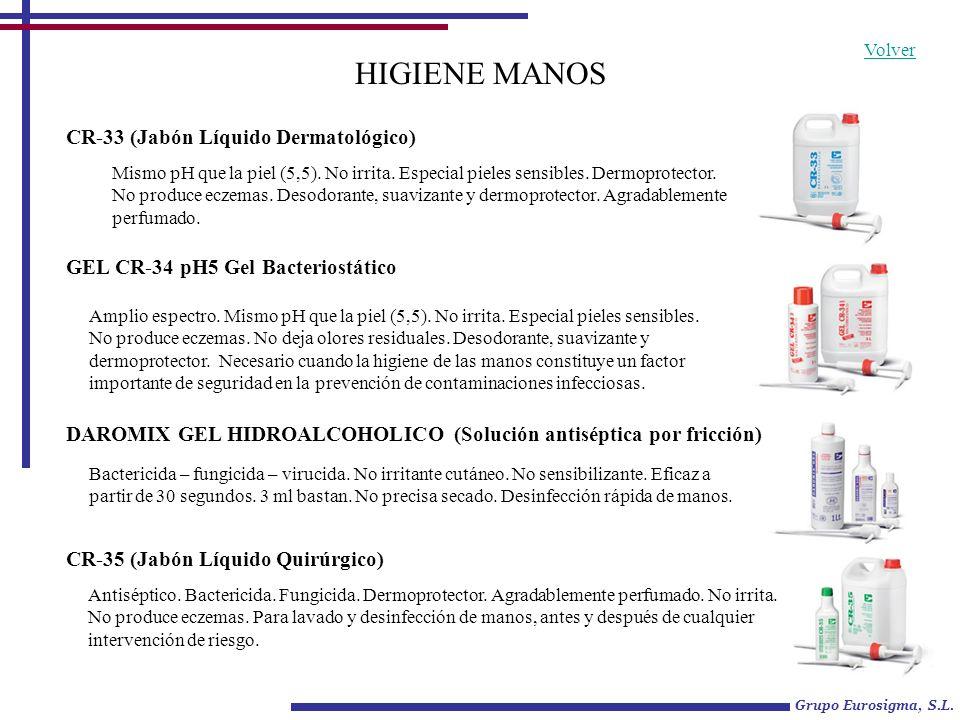 HIGIENE MANOS CR-33 (Jabón Líquido Dermatológico) Mismo pH que la piel (5,5). No irrita. Especial pieles sensibles. Dermoprotector. No produce eczemas