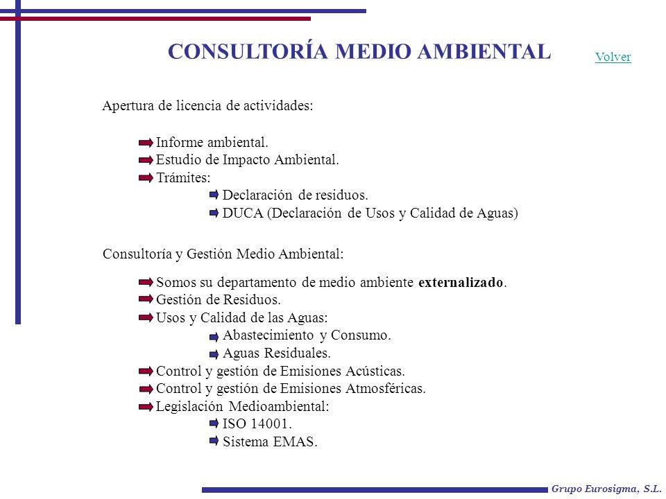 CONSULTORÍA MEDIO AMBIENTAL Grupo Eurosigma, S.L. Apertura de licencia de actividades: Informe ambiental. Estudio de Impacto Ambiental. Trámites: Decl